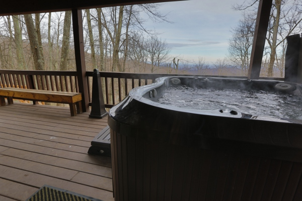 Hot Tub with Wood Bench