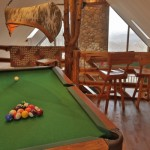 Pool Table with Custom Canoe Light Fixture