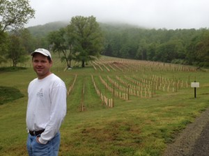 Winemaker Jeff Louden with Cabernet Franc vines Photo Credit: Cobbler Mountain Cellars